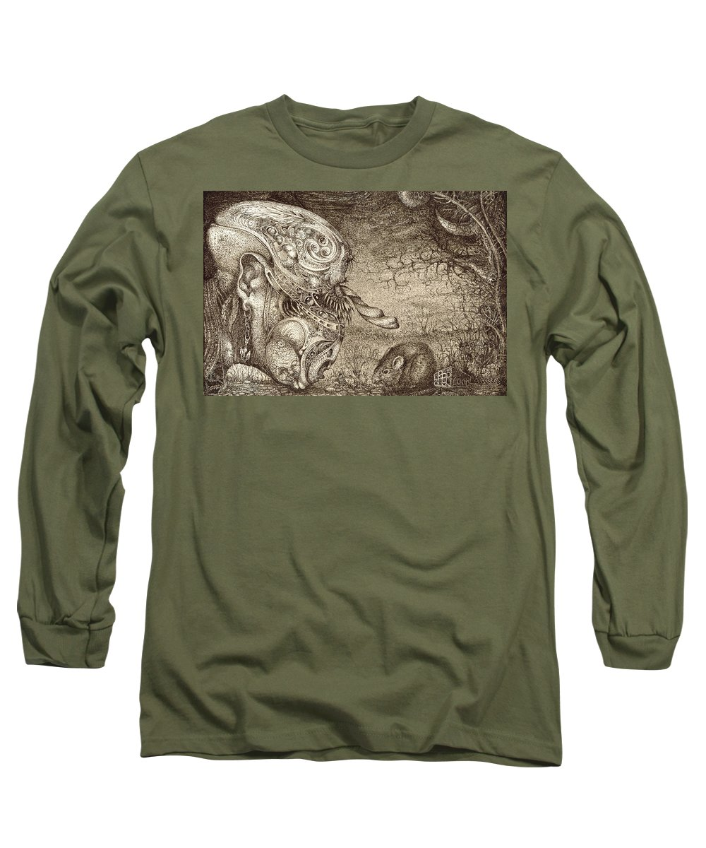 Surreal Long Sleeve T-Shirt featuring the drawing Bogomils Mousetrap by Otto Rapp