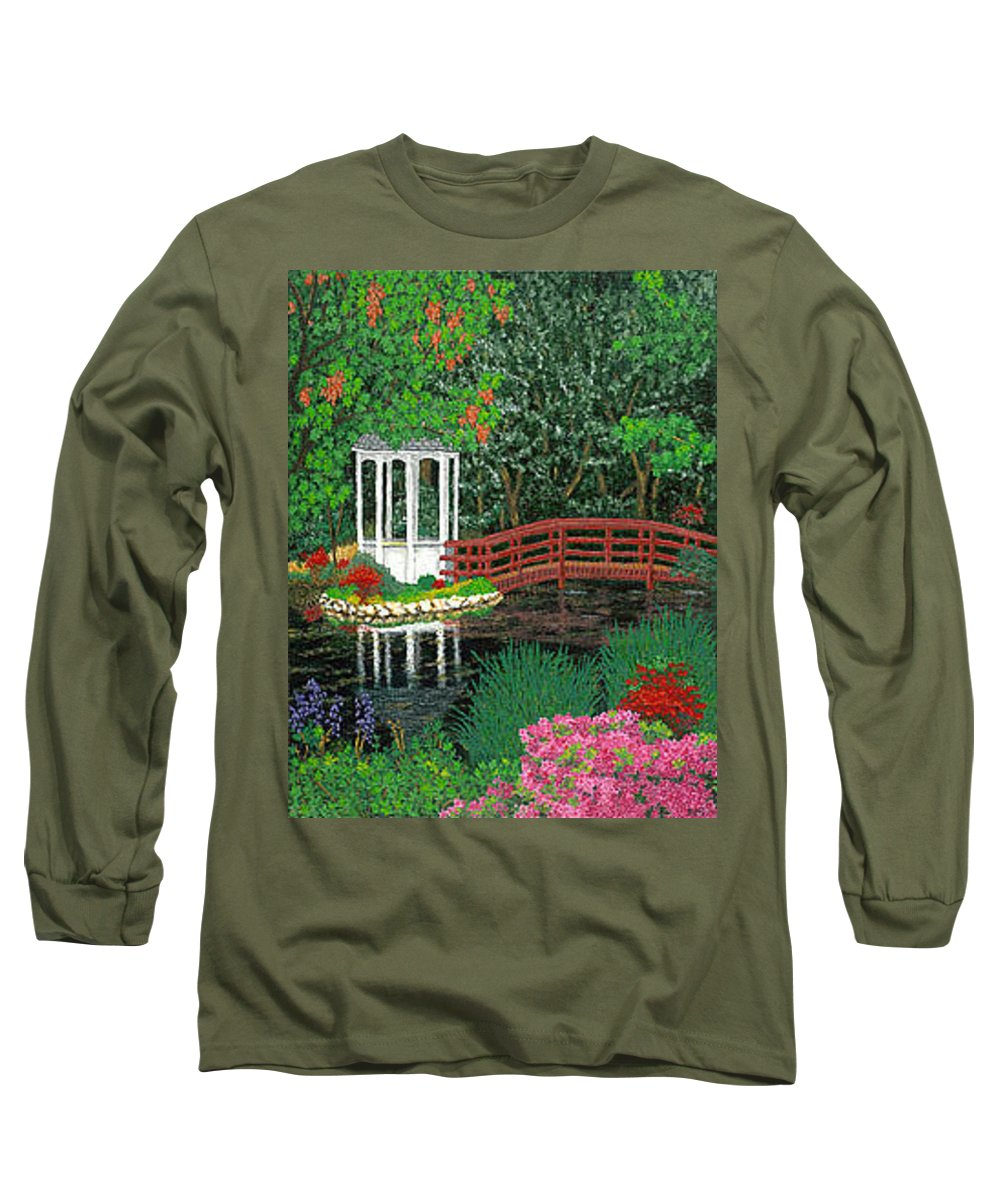 Art Long Sleeve T-Shirt featuring the painting Botanical Garden Park Walk Pink Azaleas Bridge Gazebo Flowering Trees Pond by Baslee Troutman