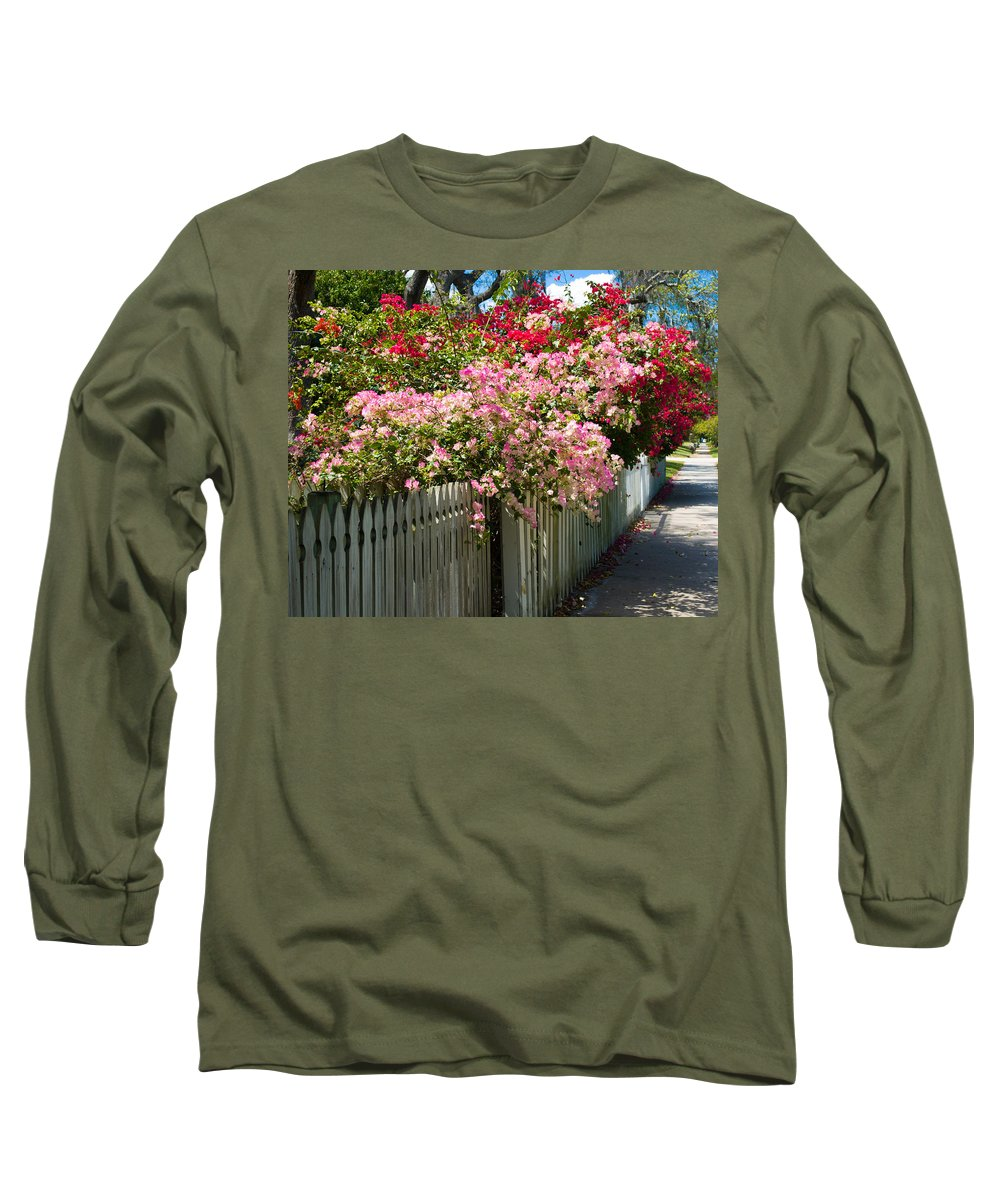 Nyctaginaceae; Bougainvillea; Flower; Flowers; Flowering; Bloom; Bloomimg; Blossom; Blossoming; Red; Long Sleeve T-Shirt featuring the photograph Bougainvillea In Old Eau Gallie Florida by Allan Hughes