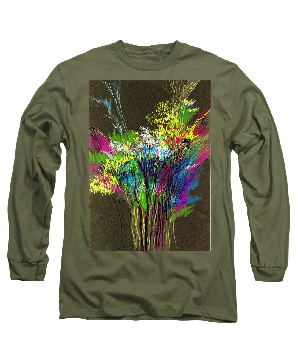 Flowers Long Sleeve T-Shirt featuring the painting Bouquet by Anil Nene