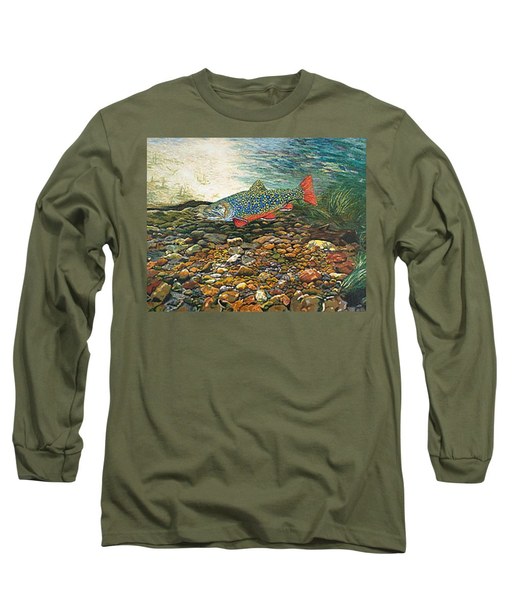 Nature Long Sleeve T-Shirt featuring the painting Brook Trout Art Fish Art Nature Wildlife Underwater by Baslee Troutman
