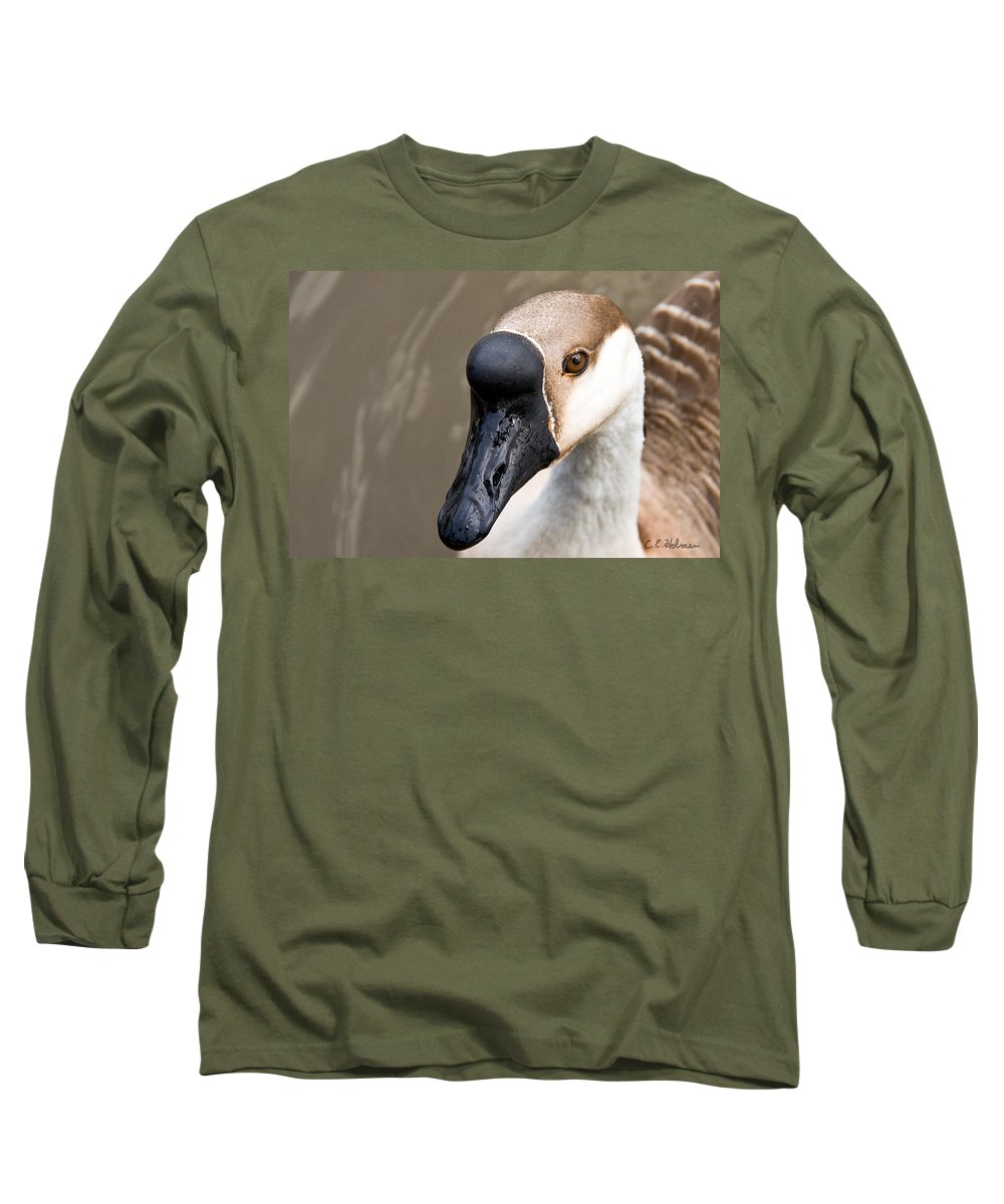Chinese Brown Goose Long Sleeve T-Shirt featuring the photograph Brown Eye by Christopher Holmes