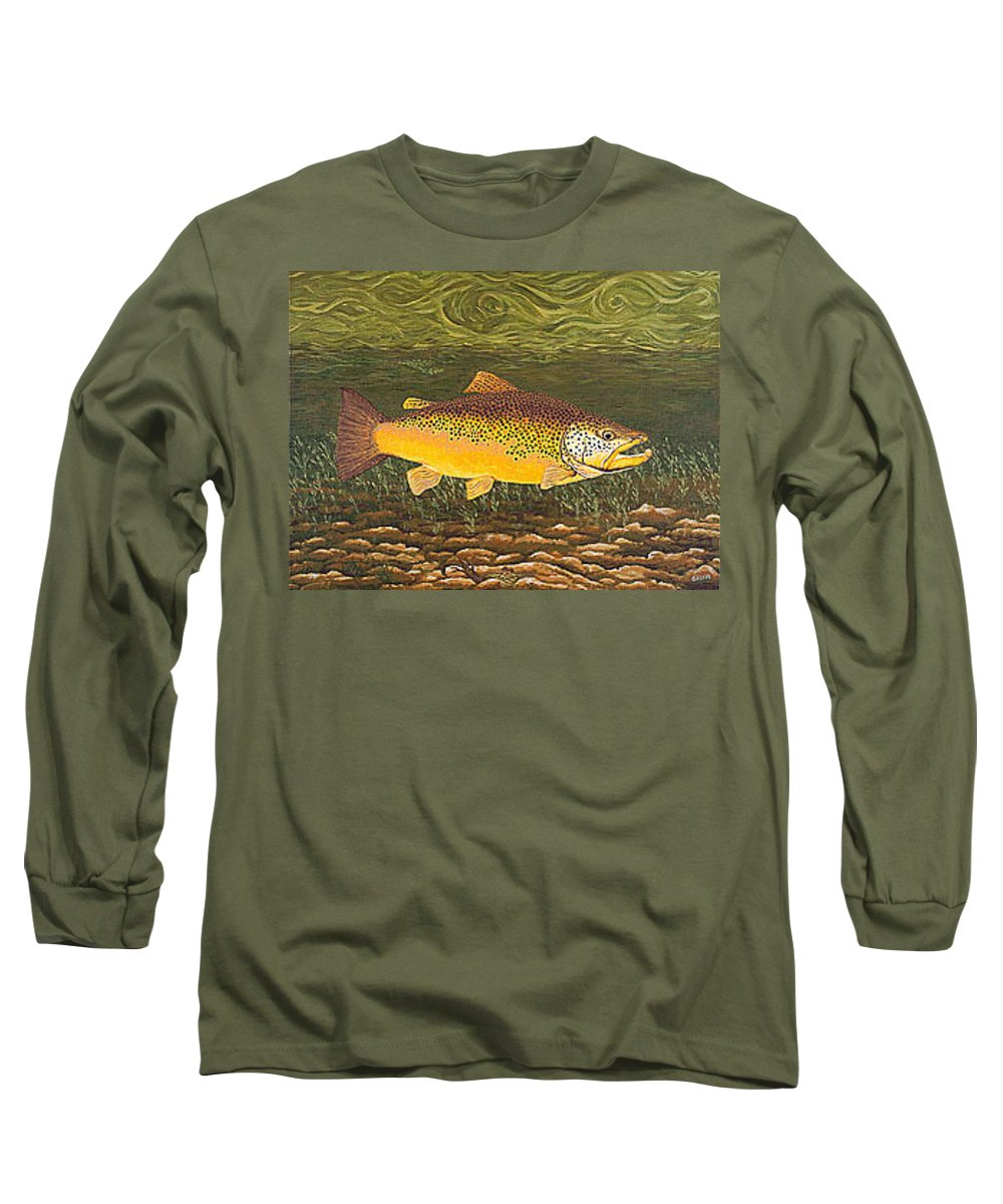Art Print Prints Canvas Framed Giclee Fine Brown Trout Fish Angler Angling Fishing Fishermen Decor Long Sleeve T-Shirt featuring the painting Brown Trout Fish Art Print Touch Down Brown Trophy Size Football Shape Brown Trout Angler Angling by Baslee Troutman