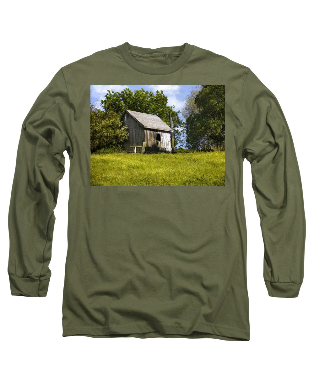 Landscape Long Sleeve T-Shirt featuring the photograph Brushy Peak Cabin by Karen W Meyer
