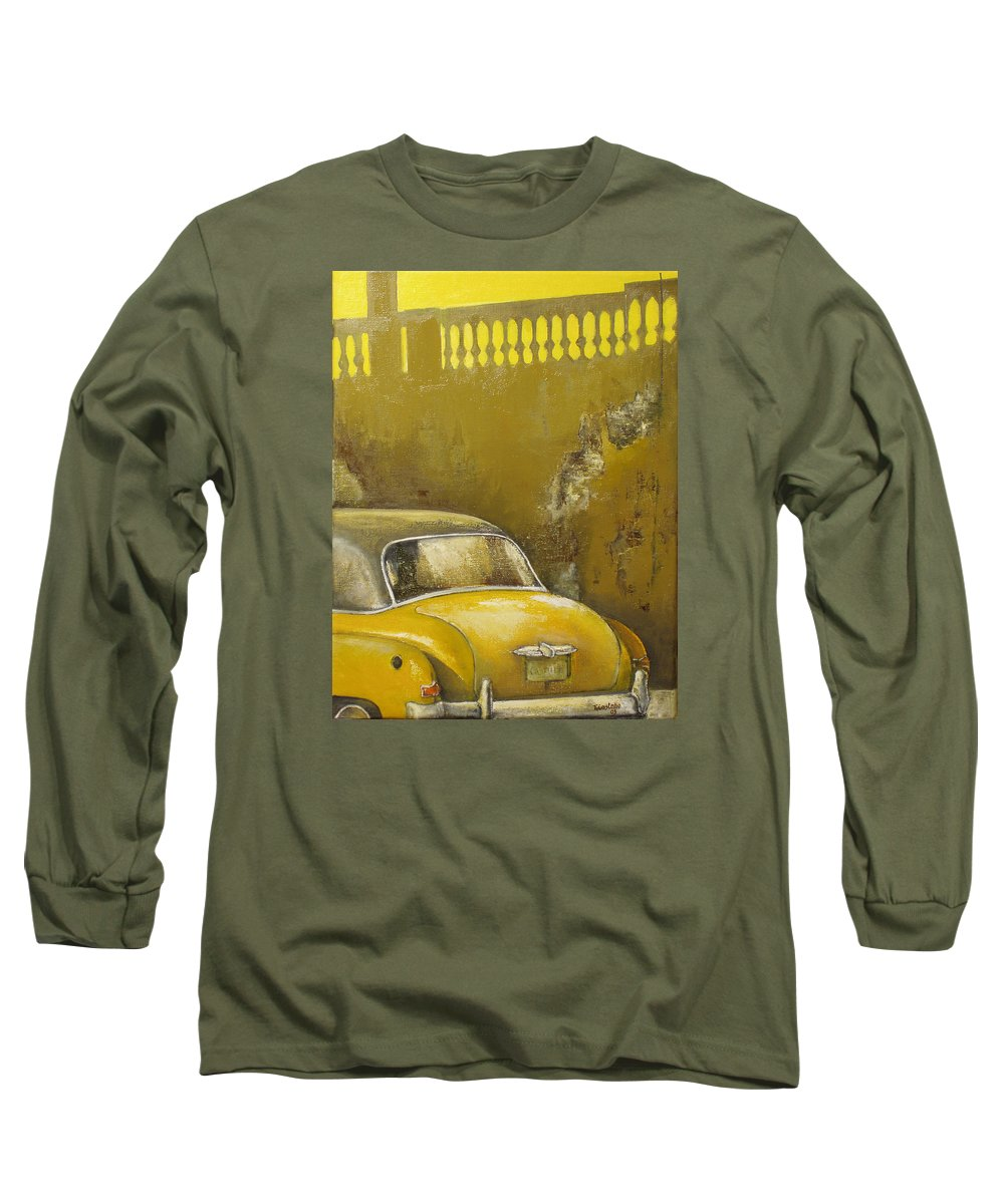 Havana Long Sleeve T-Shirt featuring the painting Buscando La Sombra by Tomas Castano