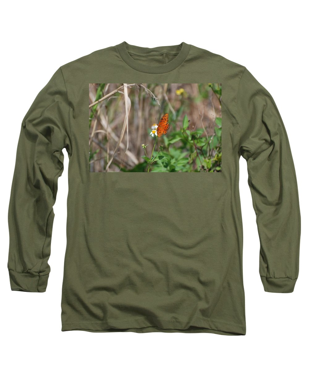 Nature Long Sleeve T-Shirt featuring the photograph Butterfly On Flower by Rob Hans