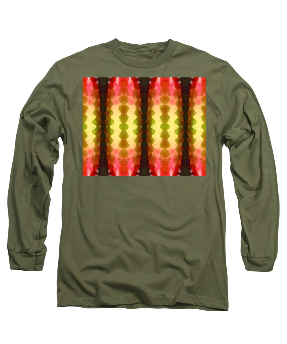 Abstract Painting Long Sleeve T-Shirt featuring the digital art Cactus Vibrations 1 by Amy Vangsgard