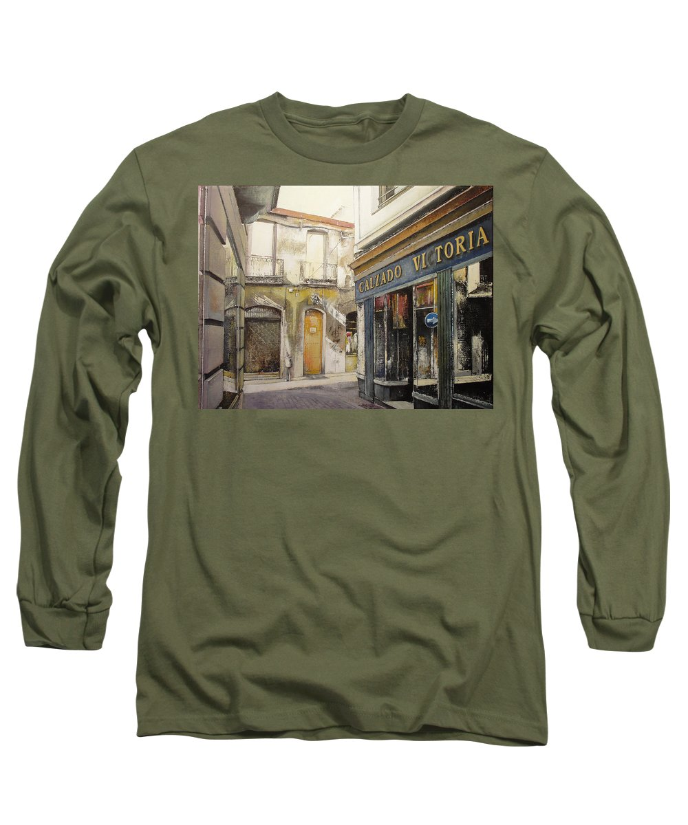 Calzados Long Sleeve T-Shirt featuring the painting Calzados Victoria-leon by Tomas Castano