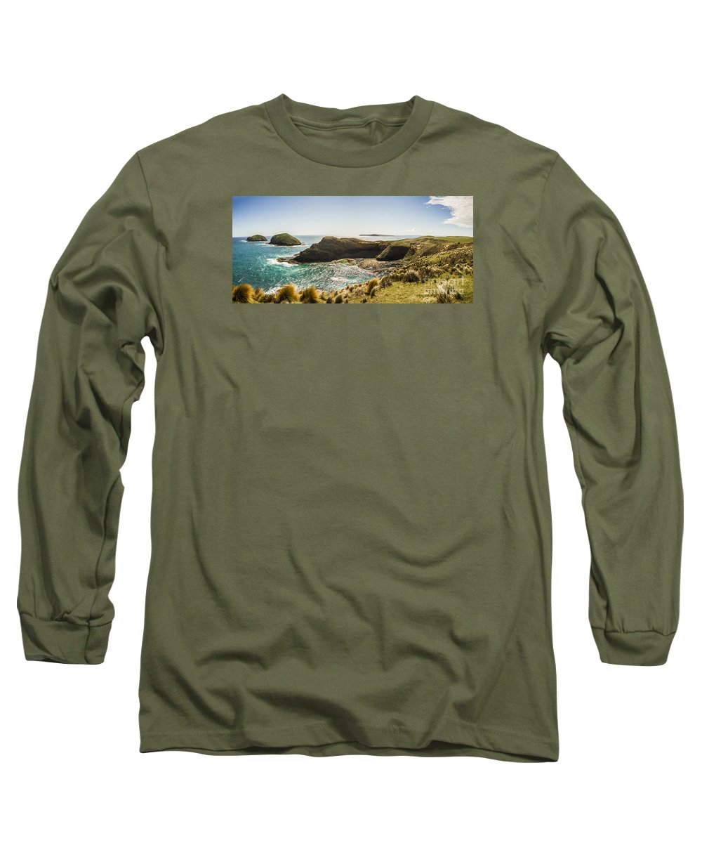 Tasmania Long Sleeve T-Shirt featuring the photograph Cape Grim Cliff Panoramic by Jorgo Photography - Wall Art Gallery