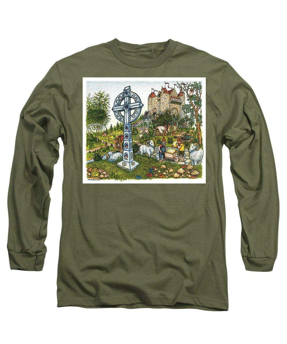 Castle Long Sleeve T-Shirt featuring the drawing Castle Cross by Bill Perkins