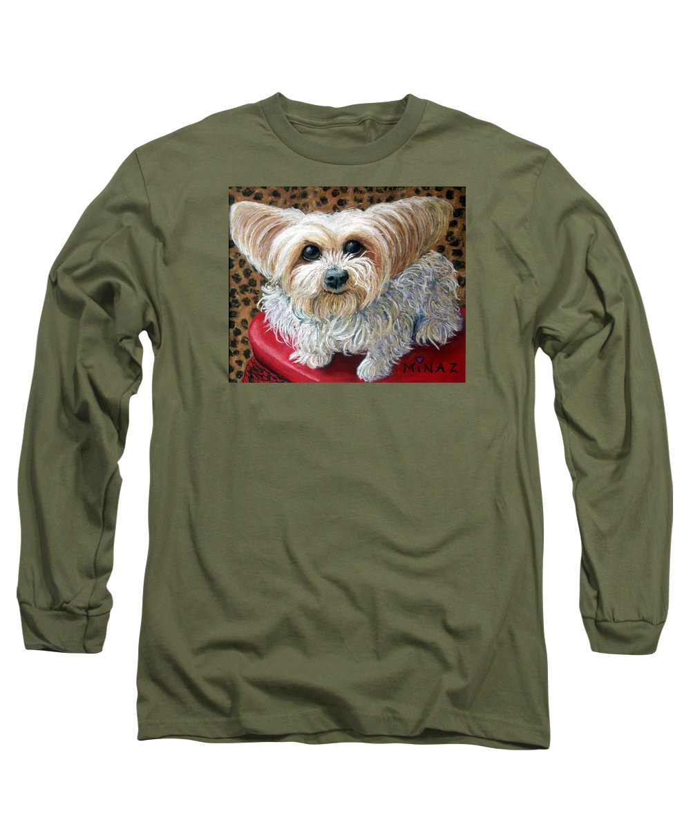 Dog Long Sleeve T-Shirt featuring the painting My Friend by Minaz Jantz