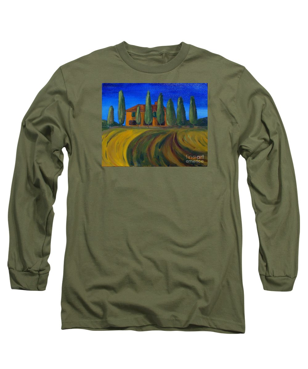 Tuscany Long Sleeve T-Shirt featuring the painting Classic Tuscan Sunset by Laurie Morgan
