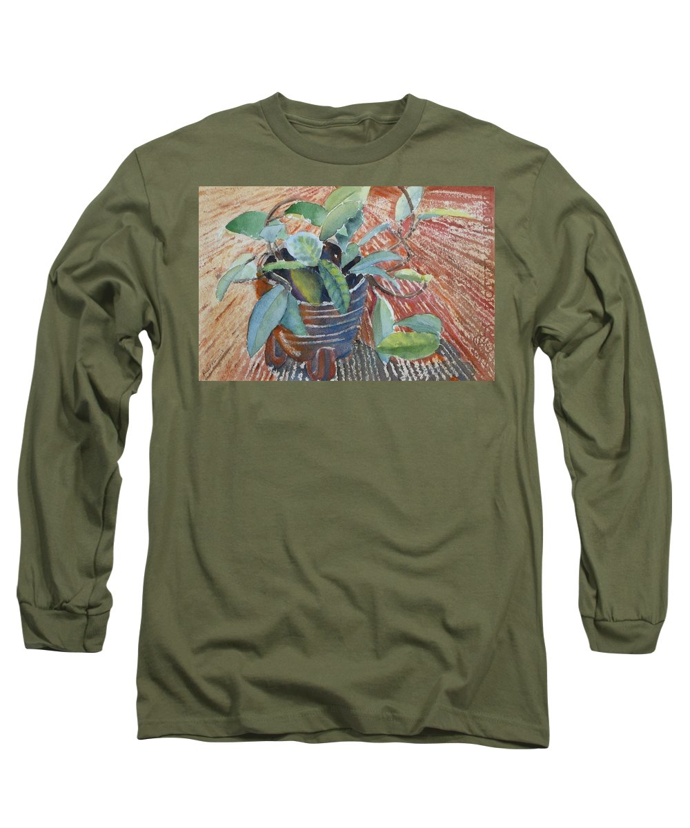 Vine Long Sleeve T-Shirt featuring the painting Clay Pot by Ruth Kamenev