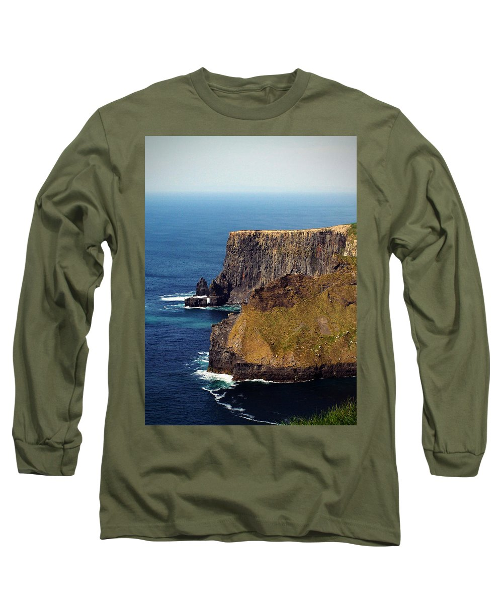 Irish Long Sleeve T-Shirt featuring the photograph Cliffs Of Moher Ireland View Of Aill Na Searrach by Teresa Mucha