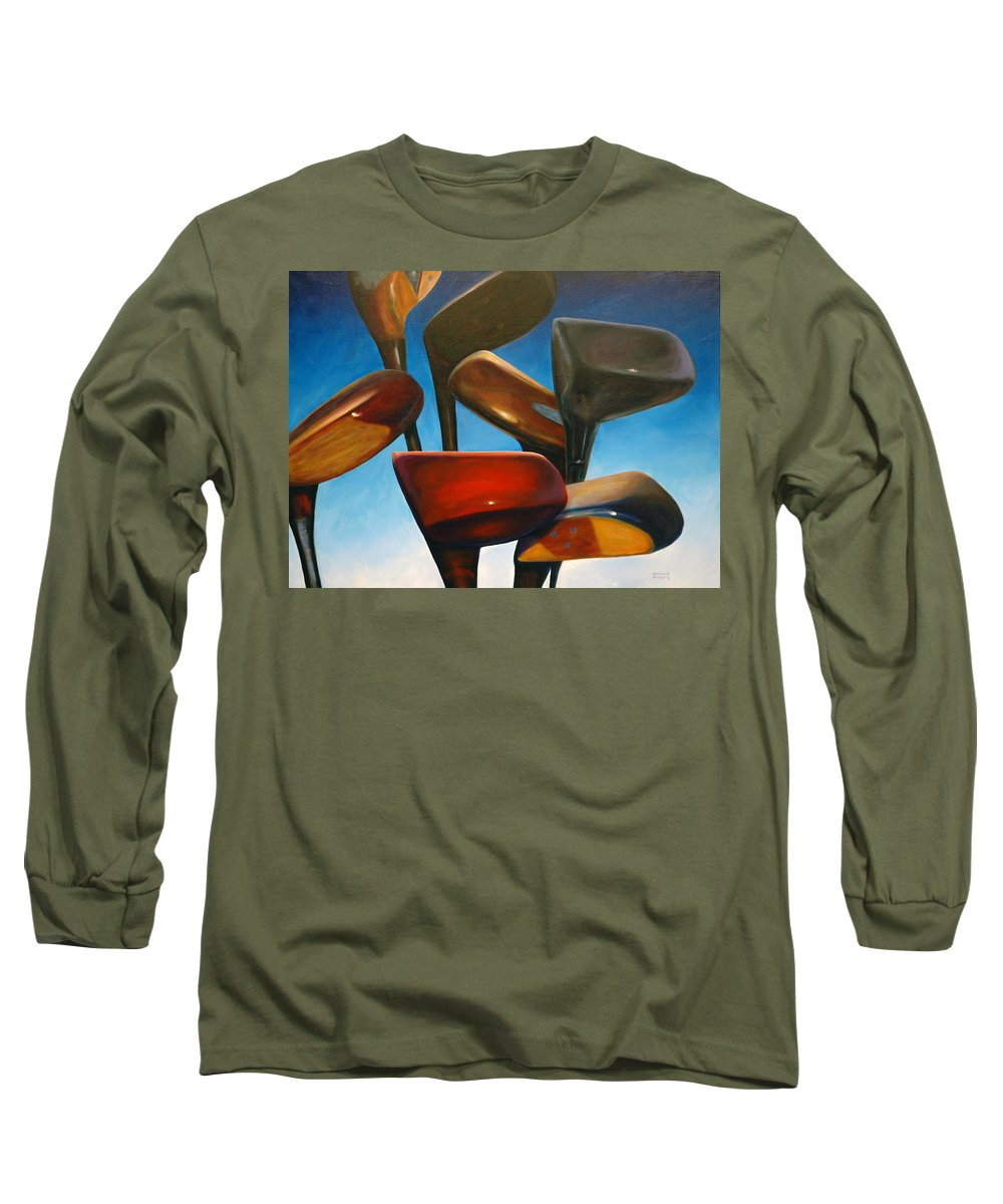 Golf Clubs Brown Long Sleeve T-Shirt featuring the painting Clubs Rising by Shannon Grissom