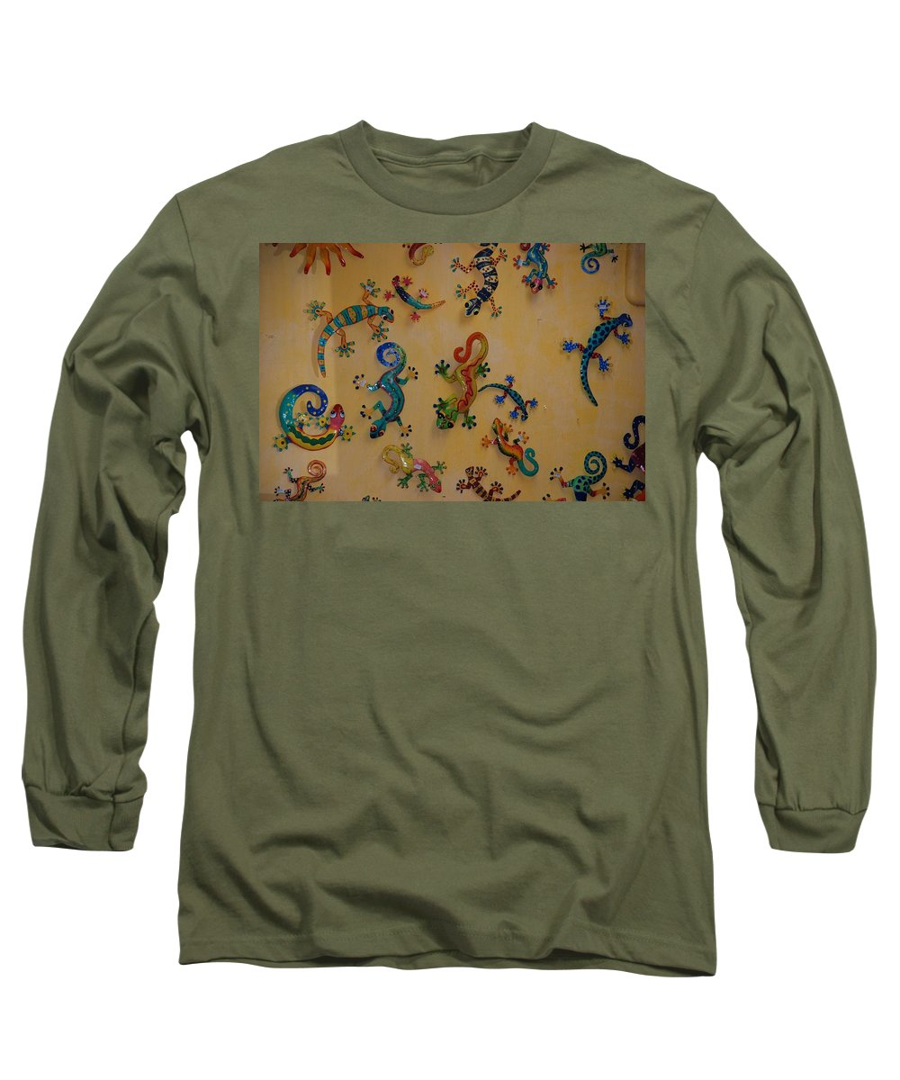 Pop Art Long Sleeve T-Shirt featuring the photograph Color Lizards On The Wall by Rob Hans
