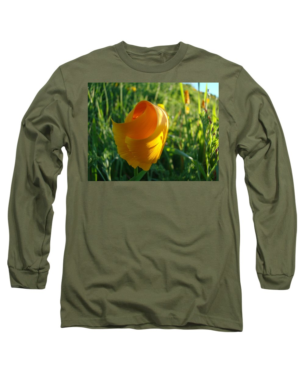 �poppies Artwork� Long Sleeve T-Shirt featuring the photograph Contemporary Orange Poppy Flower Unfolding In Sunlight 10 Baslee Troutman by Baslee Troutman