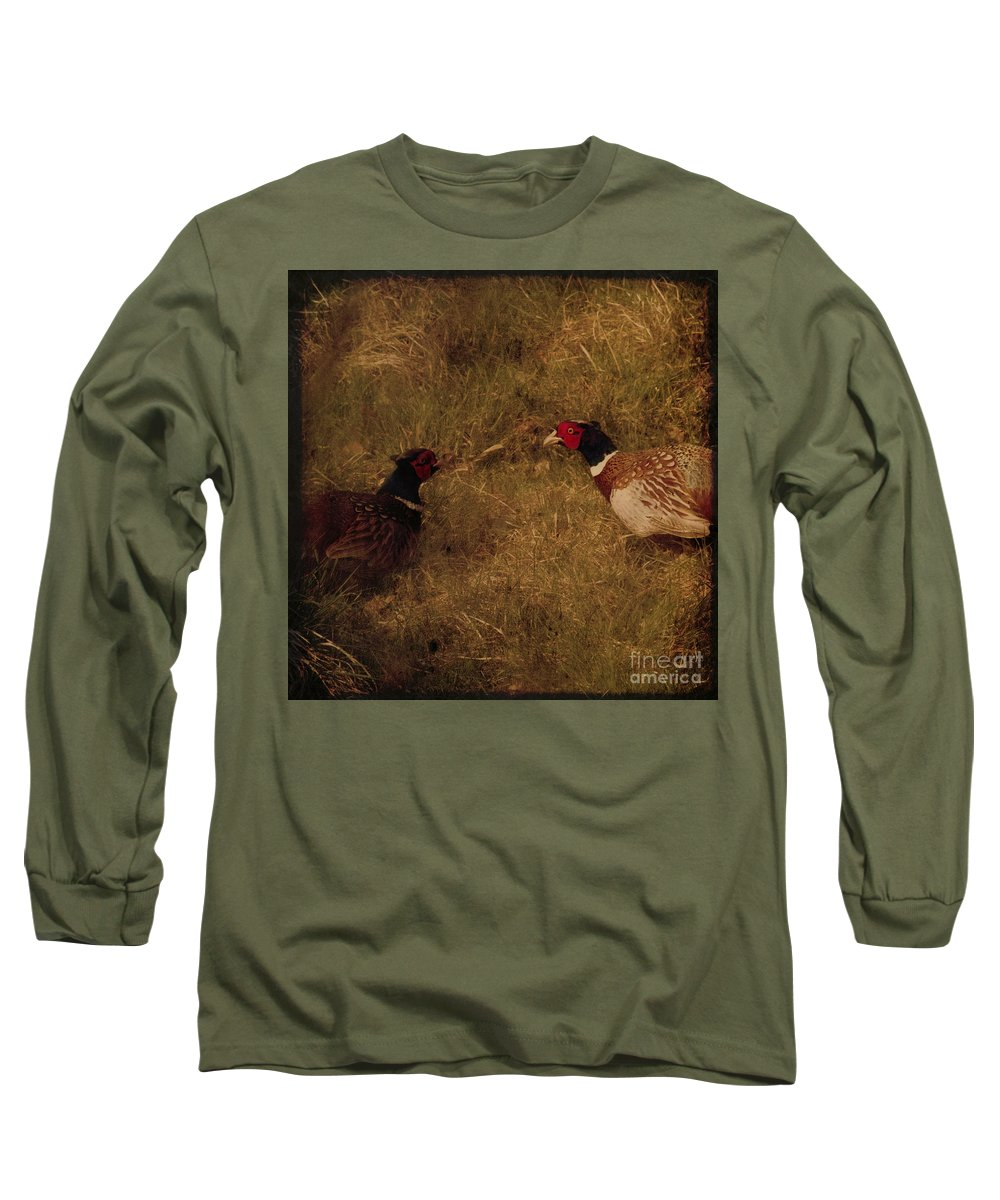 Pheasant Long Sleeve T-Shirt featuring the photograph Conversations by Angel Ciesniarska