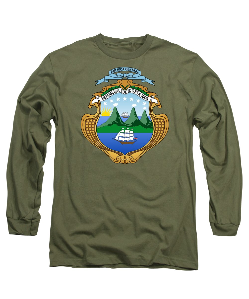 Costa Rica Long Sleeve T-Shirt featuring the drawing Costa Rica Coat Of Arms by Movie Poster Prints