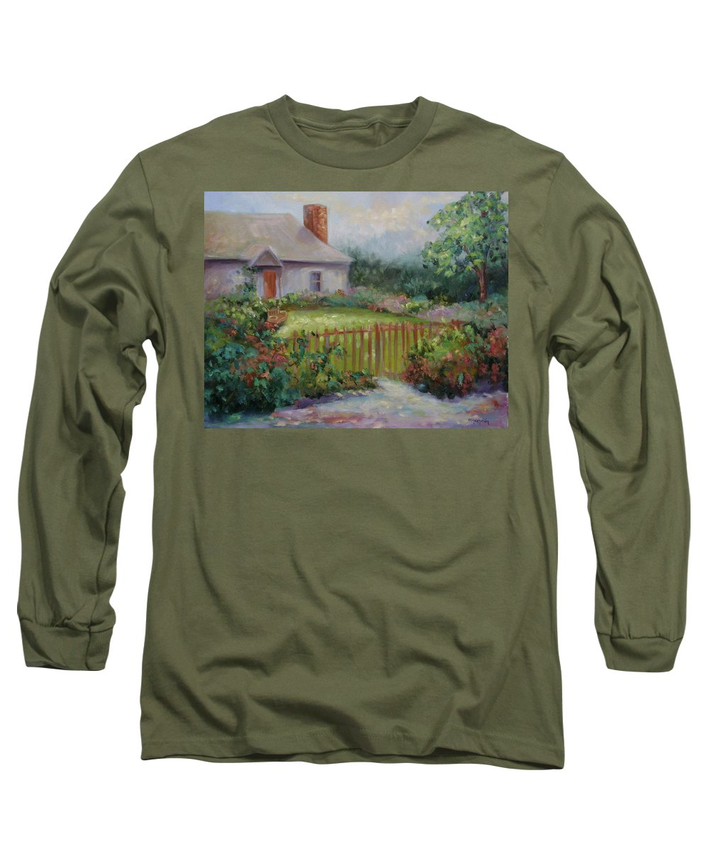 Cottswold Long Sleeve T-Shirt featuring the painting Cottswold Cottage by Ginger Concepcion