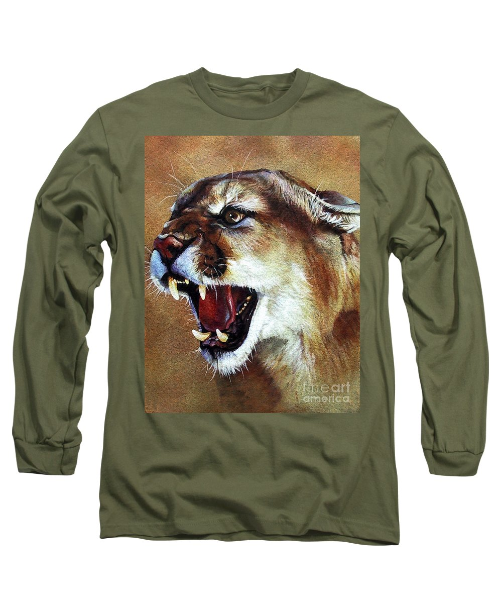 Southwest Art Long Sleeve T-Shirt featuring the painting Cougar by J W Baker