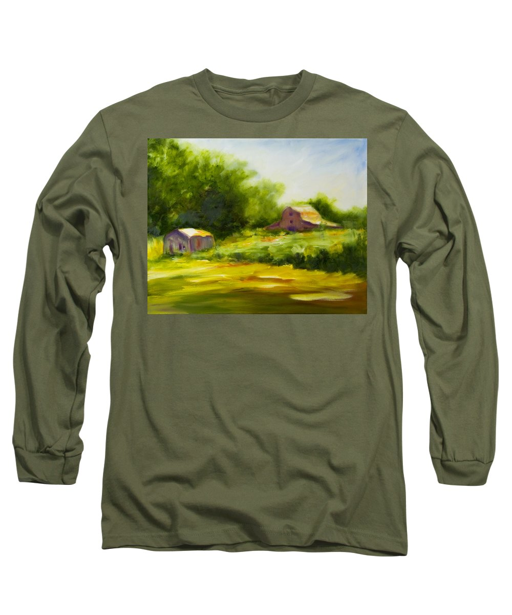 Landscape In Green Long Sleeve T-Shirt featuring the painting Courage by Shannon Grissom
