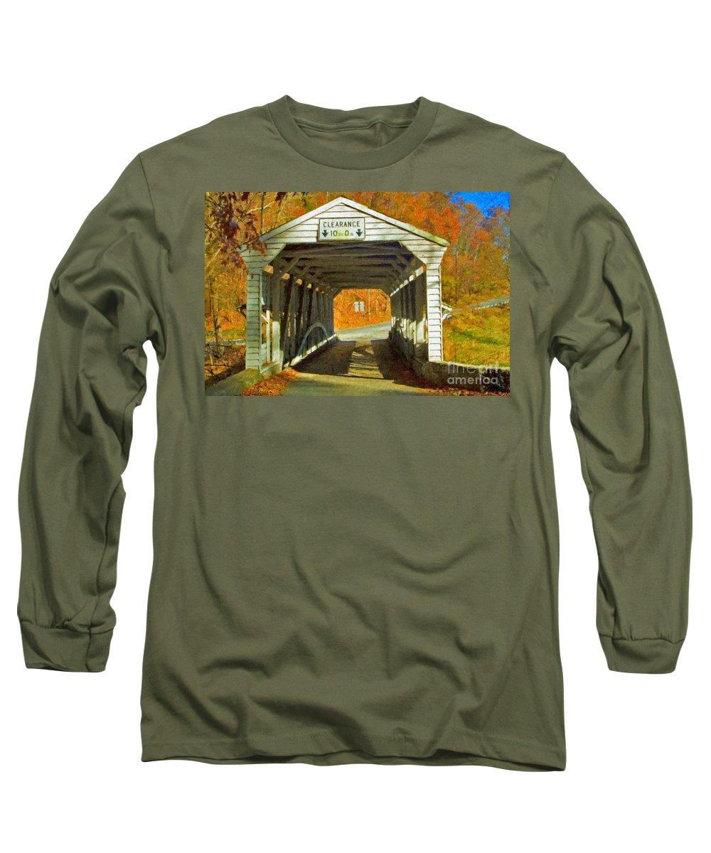 Covered Bridge Revolutionary Civil War Impasto Long Sleeve T-Shirt featuring the photograph Covered Bridge Impasto Oil by David Zanzinger