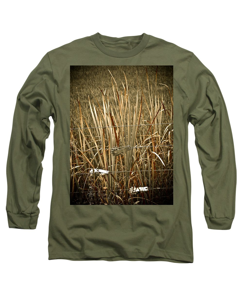 Americana Long Sleeve T-Shirt featuring the photograph Cowboy Fence by Marilyn Hunt