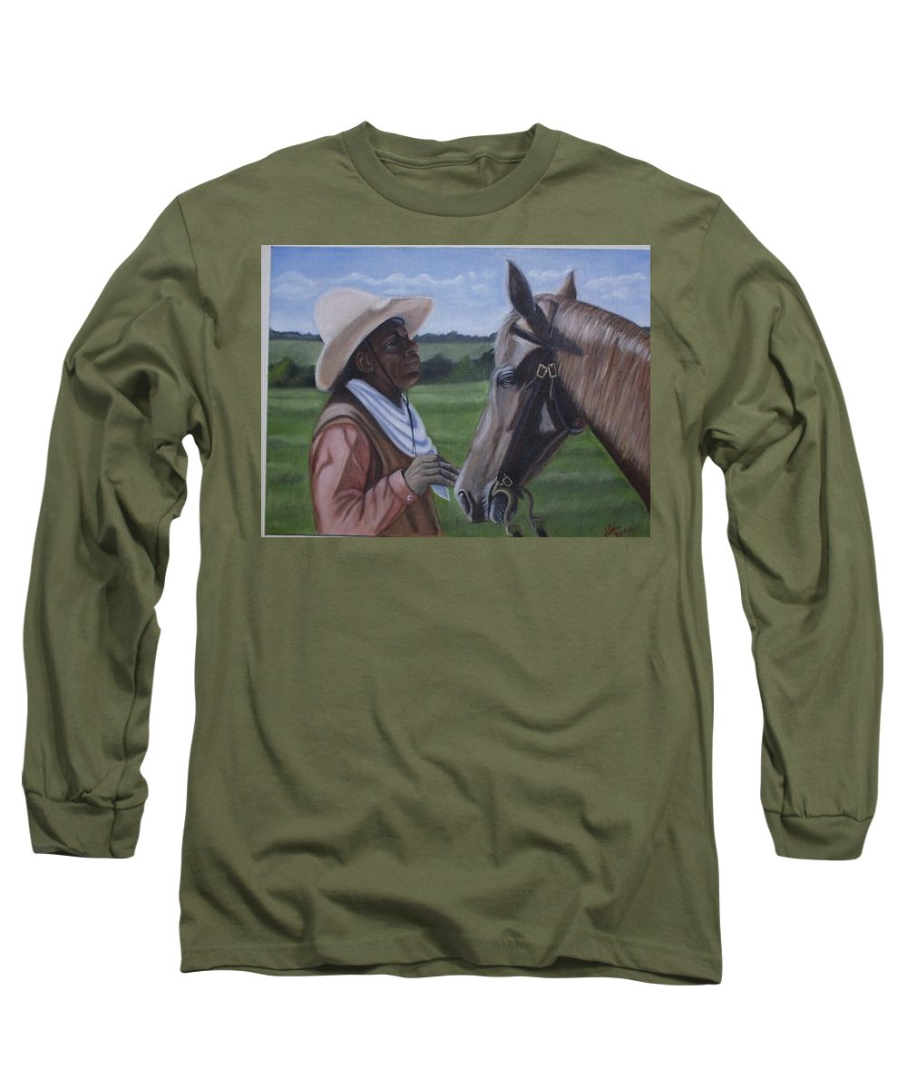 Portrait Long Sleeve T-Shirt featuring the painting Cowboy2 by Toni Berry