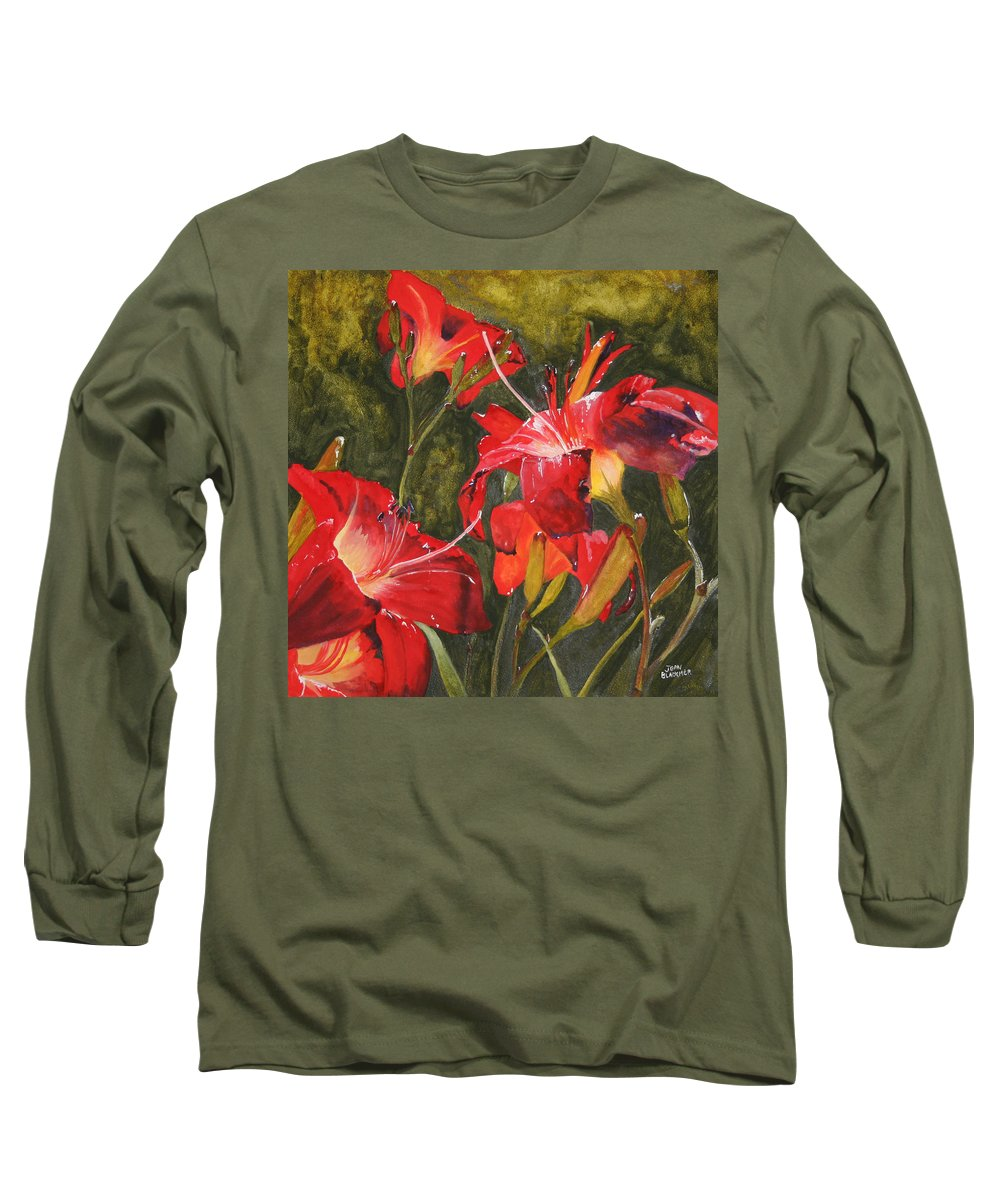 Red Long Sleeve T-Shirt featuring the painting Crimson Light by Jean Blackmer
