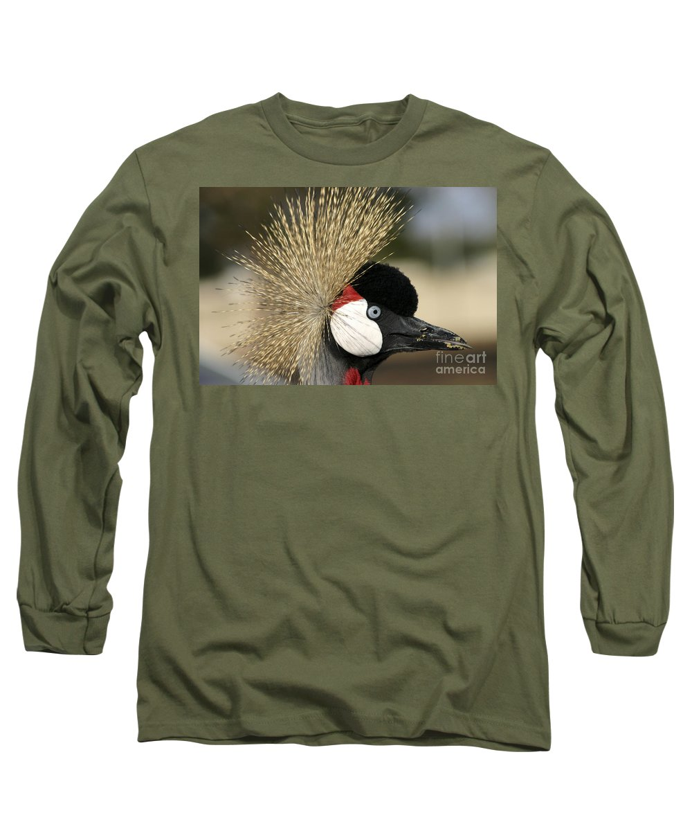Crowned Long Sleeve T-Shirt featuring the photograph Crown Crane Close Up by Danny Yanai