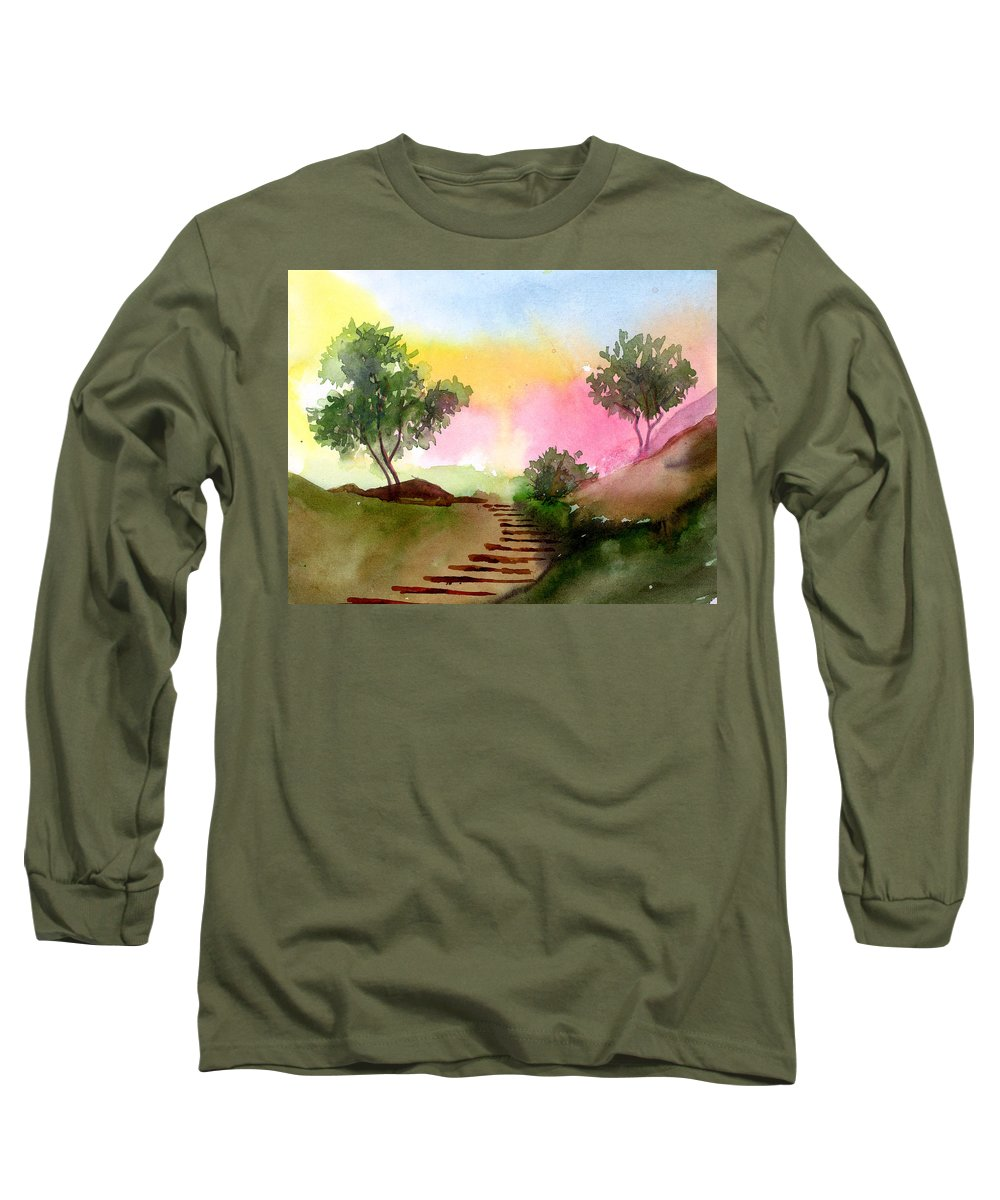 Landscape Long Sleeve T-Shirt featuring the painting Dawn by Anil Nene