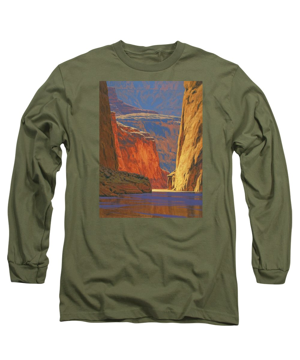 Grand Canyon Long Sleeve T-Shirt featuring the painting Deep In The Canyon by Cody DeLong