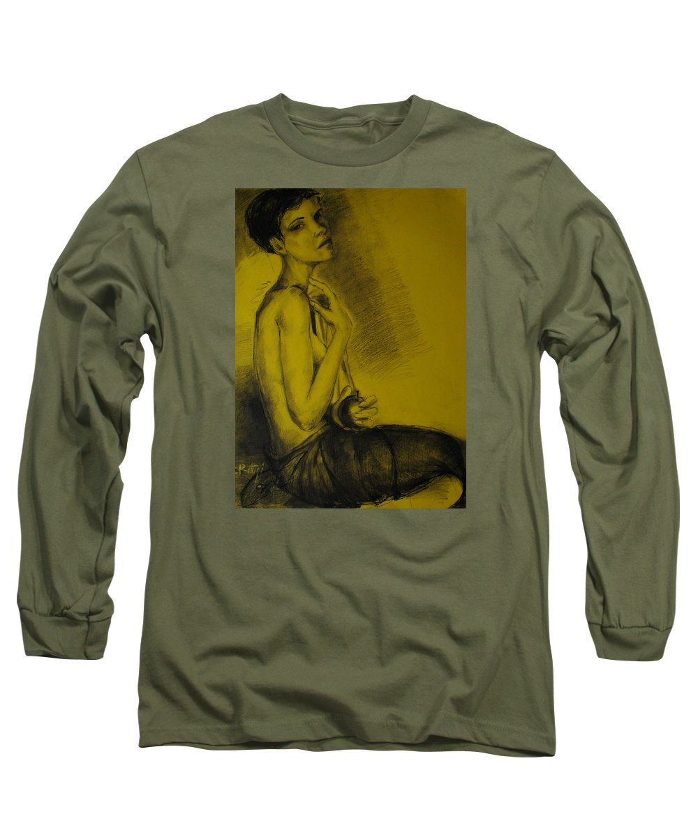 Drawing Long Sleeve T-Shirt featuring the drawing Desire by Cristina Rettegi