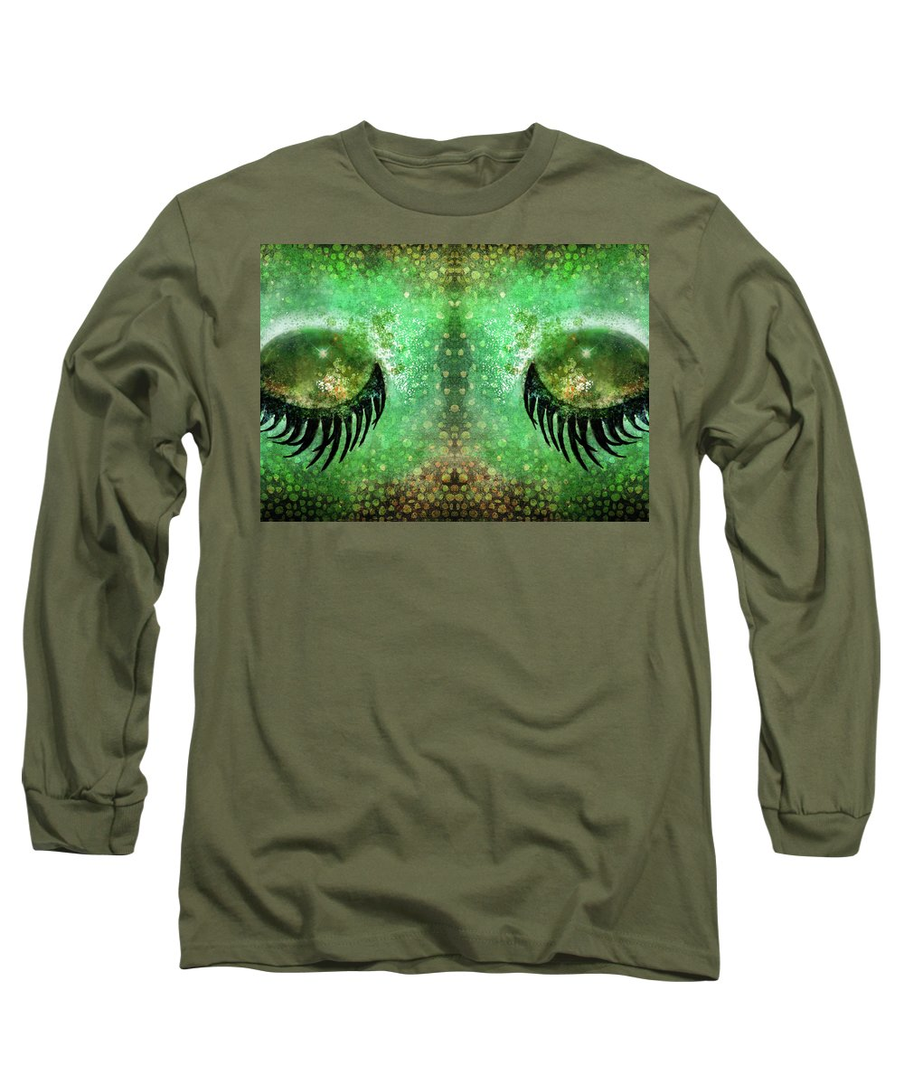 Dragon Long Sleeve T-Shirt featuring the painting Dragon Eyes At Dawn by Christina VanGinkel