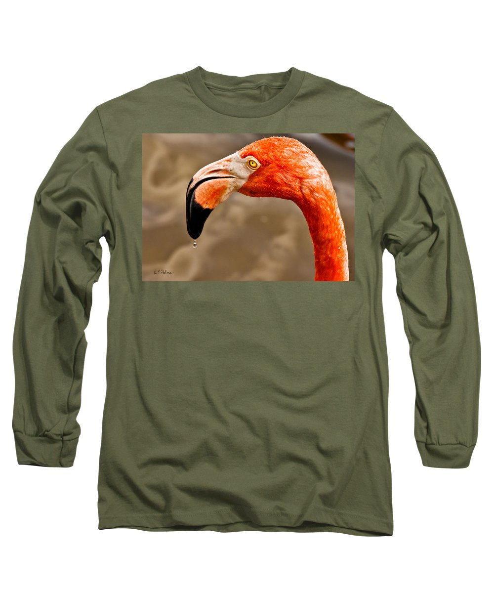 Flamingo Long Sleeve T-Shirt featuring the photograph Dripping Flamingo by Christopher Holmes
