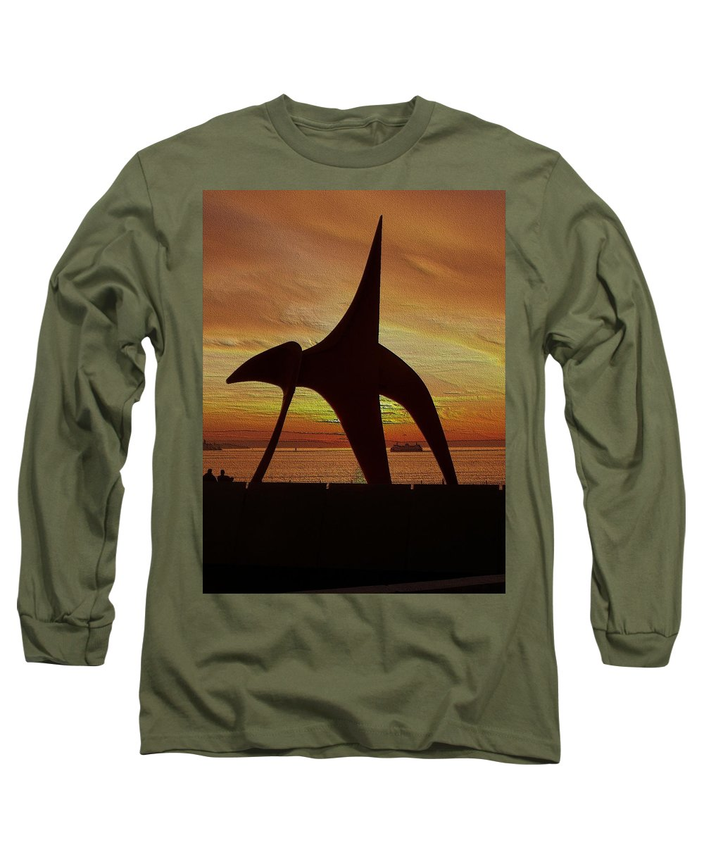 Seattle Long Sleeve T-Shirt featuring the digital art Eagle Sunset Over Elliott Bay by Tim Allen