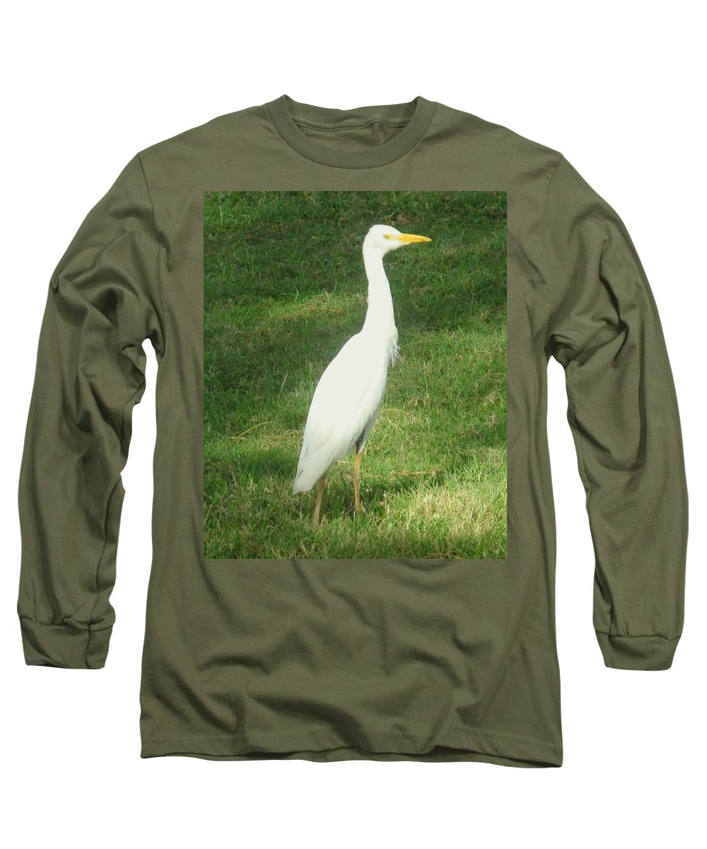 Egret Long Sleeve T-Shirt featuring the photograph Egret Posing by Ian MacDonald