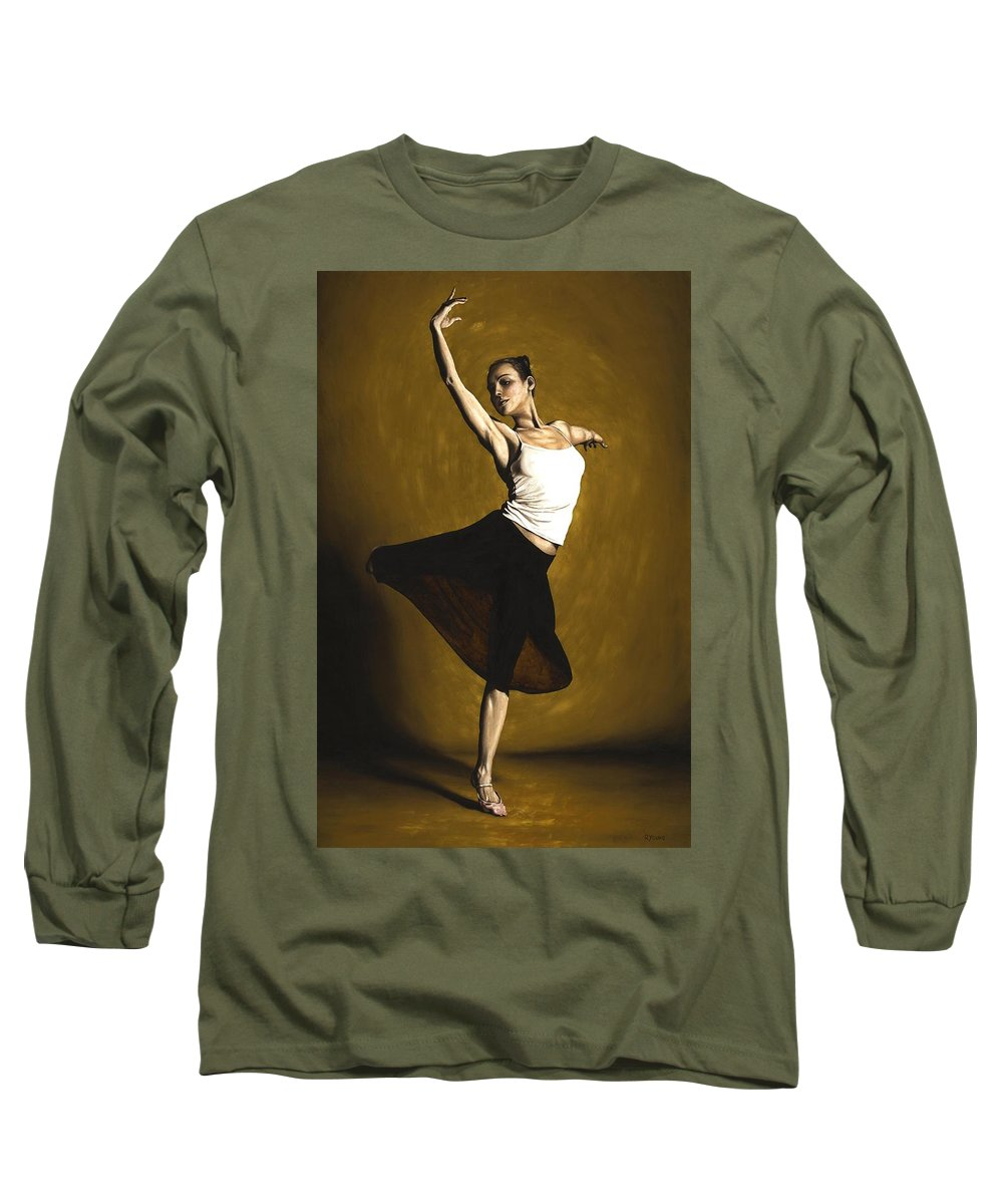Elegant Long Sleeve T-Shirt featuring the painting Elegant Dancer by Richard Young