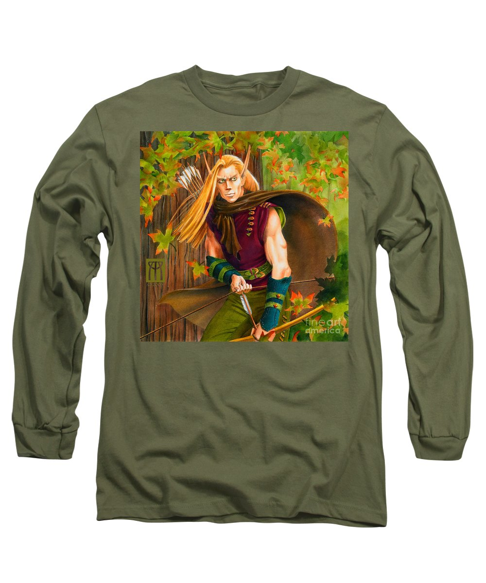 Elf Long Sleeve T-Shirt featuring the painting Elven Hunter by Melissa A Benson