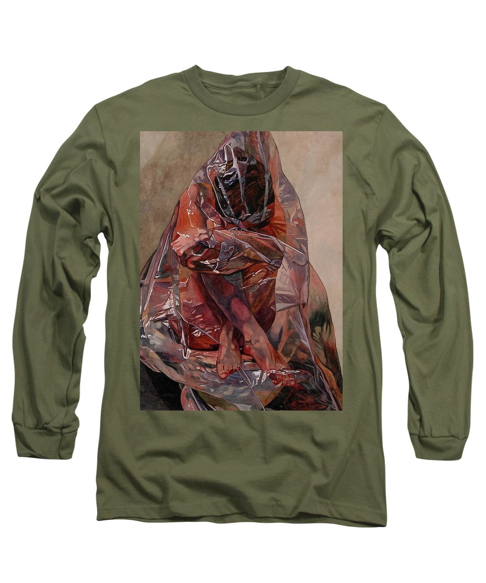 Nude Long Sleeve T-Shirt featuring the painting Encompassed by Valerie Patterson