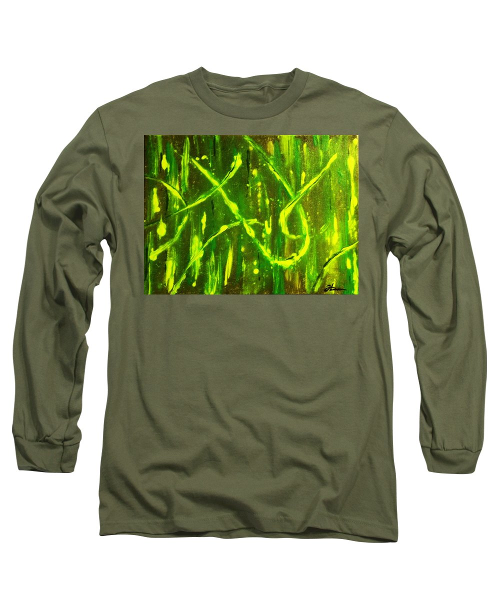Abstract Long Sleeve T-Shirt featuring the painting Envy by Todd Hoover