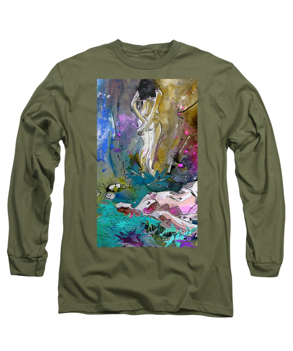 Miki Long Sleeve T-Shirt featuring the painting Eroscape 1104 by Miki De Goodaboom