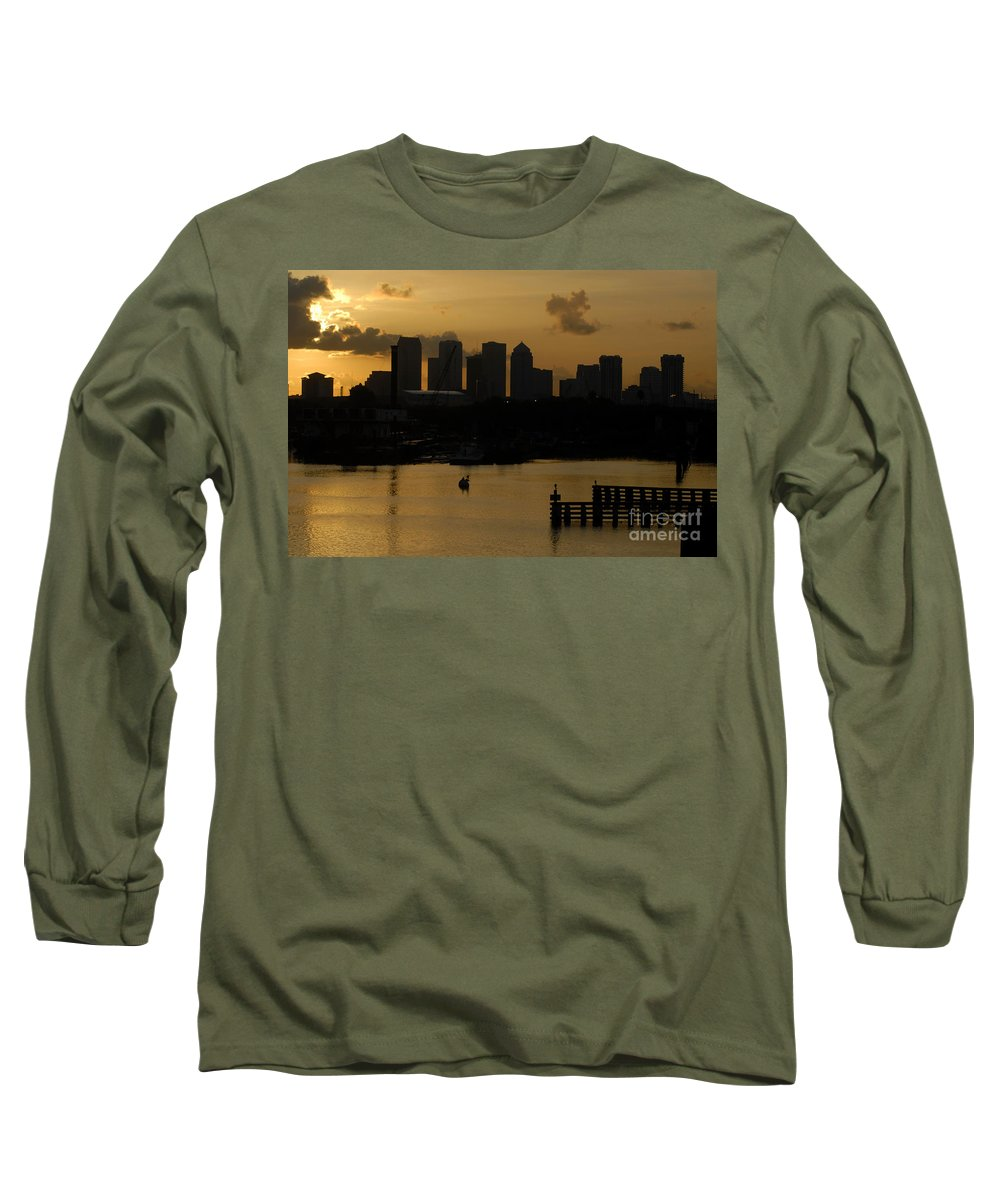 Tampa Bay Florida Long Sleeve T-Shirt featuring the photograph Evening In Tampa by David Lee Thompson
