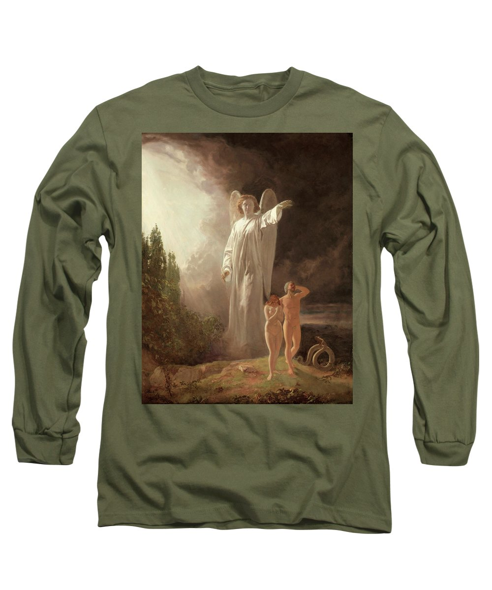 Expulsion Long Sleeve T-Shirt featuring the painting Expulsion Of Adam And Eve by John Faed
