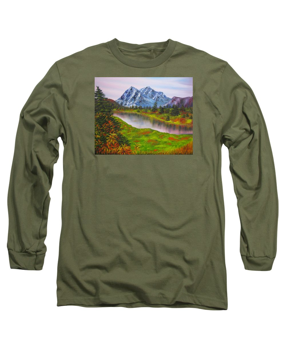 Fall Long Sleeve T-Shirt featuring the painting Fall In Mountains Landscape Oil Painting by Natalja Picugina