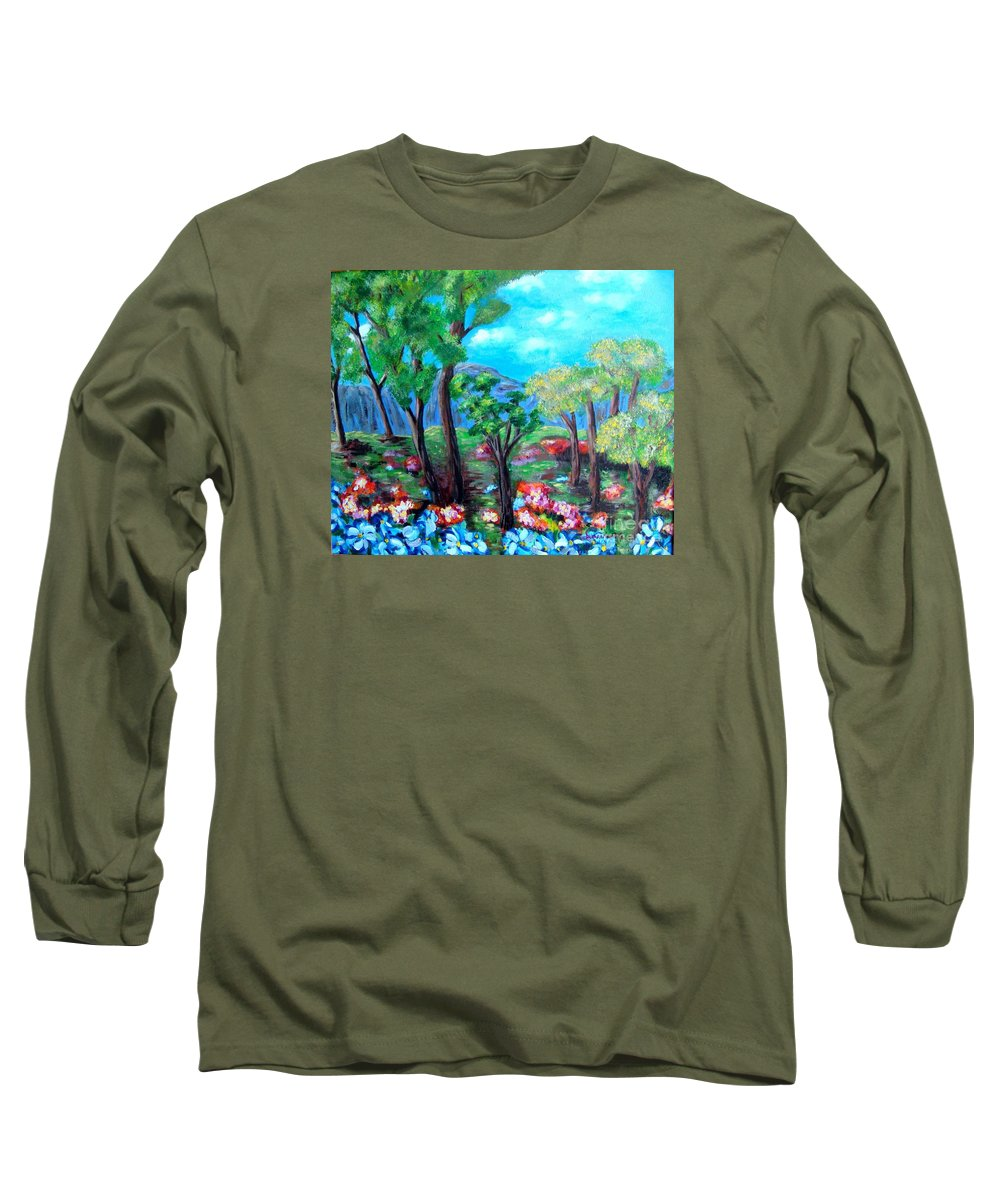 Fantasy Long Sleeve T-Shirt featuring the painting Fantasy Forest by Laurie Morgan