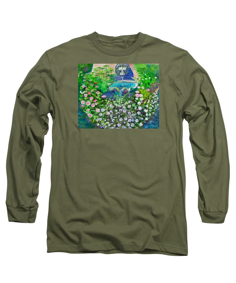 Fountain Long Sleeve T-Shirt featuring the painting Fantasy Fountain by Michael Durst
