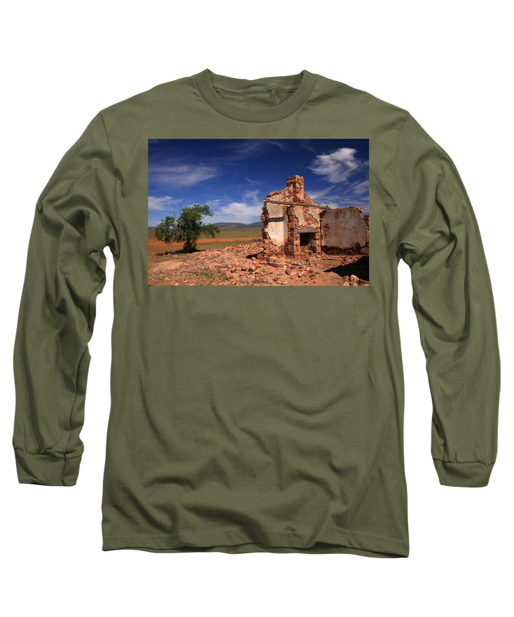 Cottage Long Sleeve T-Shirt featuring the photograph Farmhouse Cottage Ruin Flinders Ranges South Australia by Ralph A Ledergerber-Photography