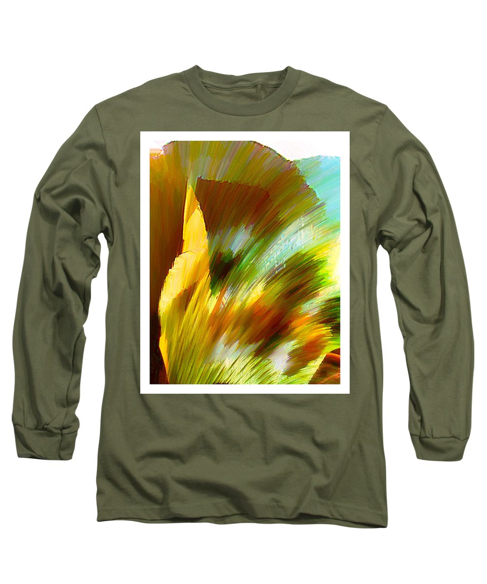 Landscape Digital Art Watercolor Water Color Mixed Media Long Sleeve T-Shirt featuring the digital art Feather by Anil Nene
